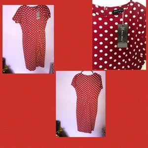 Red Dress with white Dots Dress